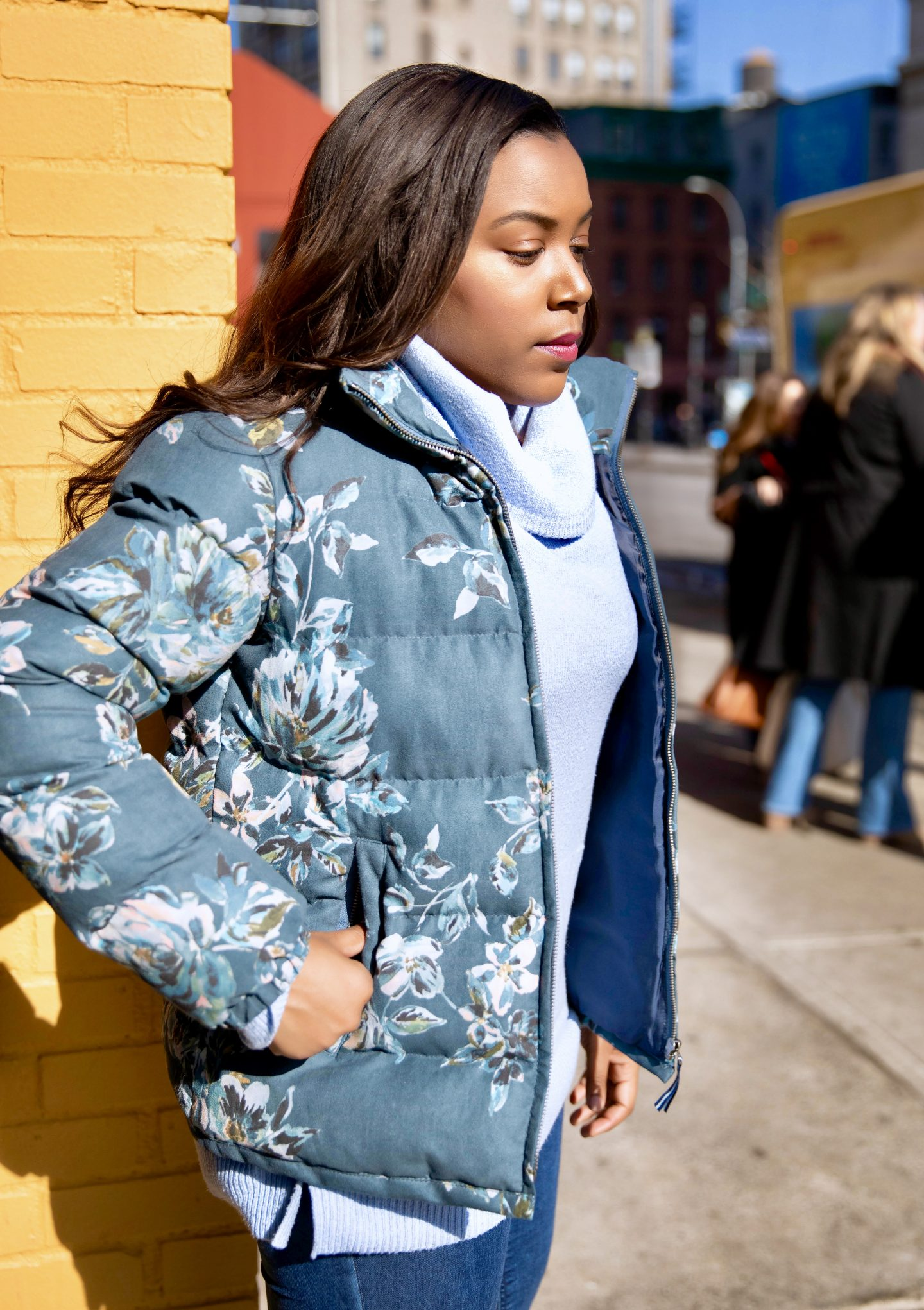 Anthropologie Floral Puffer Coat